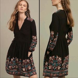 Anthropologie Floreat Avery Embroidered Dress M